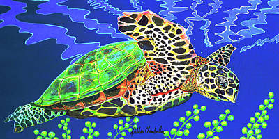 Turtle Painting - Honu by Debbie Chamberlin