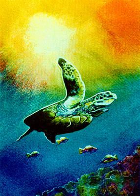 Honu Hawaiian Sea Turtle #154  Art Print by Donald k Hall