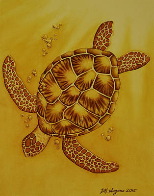 Painting - Honu In Gold by DK Nagano