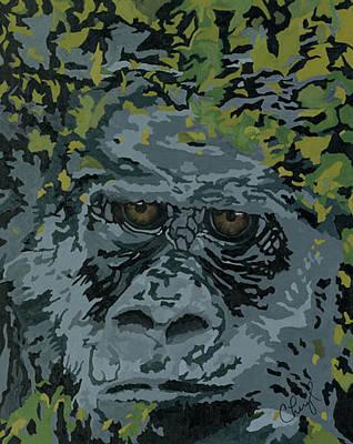 Ape. Great Ape Painting - Hooah by Cheryl Bowman