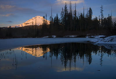 Winter Photograph - Hood Alpenglow by Mike  Dawson