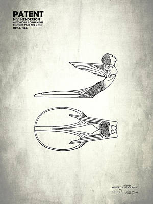 Radiator Cap Photograph - Hood Ornament Patent 1934 by Mark Rogan
