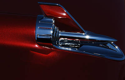 Hood Ornaments Photograph - 1957 Chevy Belair Hood Rocket Abstract by Jani Freimann