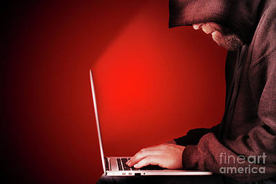 Hooded Computer Hacker Red Background Art Print by Simon Bratt Photography LRPS