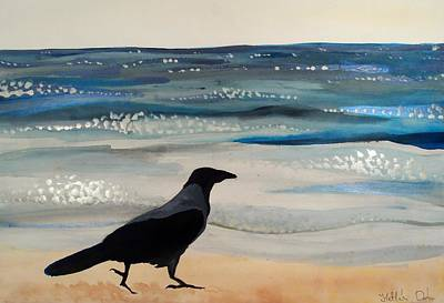 Painting - Hooded Crow At The Black Sea By Dora Hathazi Mendes by Dora Hathazi Mendes