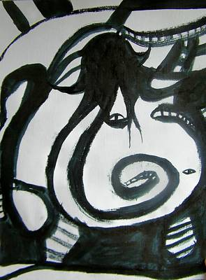 Black And White Symbolism Painting - Hooded Snake Woman And Sons by Judith Redman