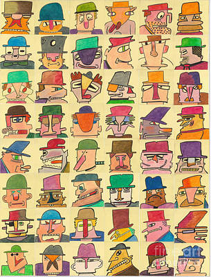 Hoodlums With Hats  Art Print by Ed Attanasio
