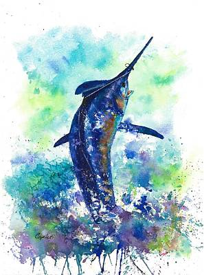 Sportfish Boat Painting - Hooked by Barb Capeletti