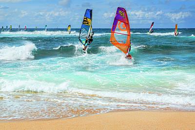 Photograph - Ho'okipa Beach Wind Surfers by Kelley King