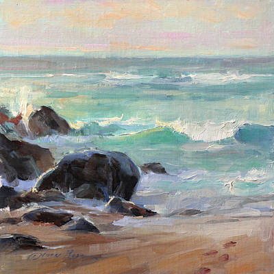 Surfing Painting - Ho'okipa Sunset by Anna Rose Bain