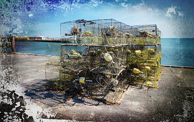 Mixed Media - Hooper's Island Crab Pots - Textured by Brian Wallace
