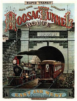 Hoosac Tunnel Route - Vintage Steam Locomotive - Advertising Poster Art Print