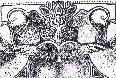 Stipple Owl Drawing - Hooters by Charles Kabrich