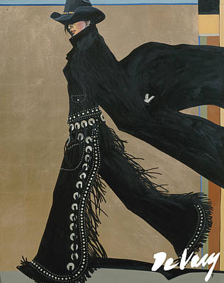 Beautiful Western Cowgirl Painting - Hop To It by David DeVary