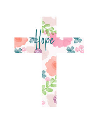 Mixed Media - Hope Floral Cross- Art By Linda Woods by Linda Woods