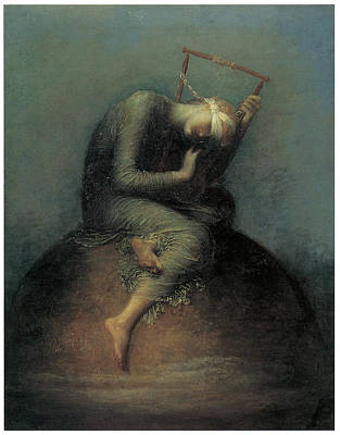 Blindfold Painting - Hope by George Frederic Watts