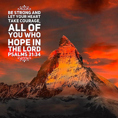 Hope In The Lord Bible Quote - Mountain Art Print by Matthias Hauser