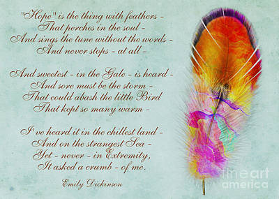 Digital Art - Hope Is The Thing With Feathers By Emily Dickinson by Olga Hamilton
