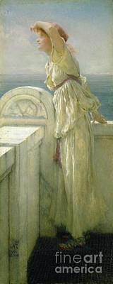 Waiting Girl Painting - Hopeful by Sir Lawrence Alma-Tadema