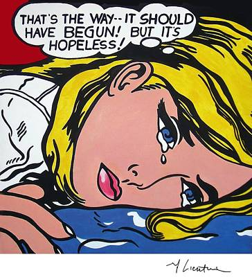 Photograph - Hopeless by Doc Braham - In Tribute to Roy Lichtenstein