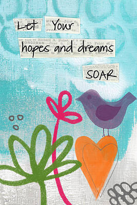 Bird Painting - Hopes And Dreams Soar by Linda Woods