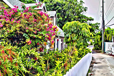 Bamboo Fence Digital Art - Hopetown Gardens by Anthony C Chen