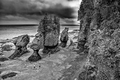 Photograph - Hopewell Rocks Monochrome by Patrick Boening
