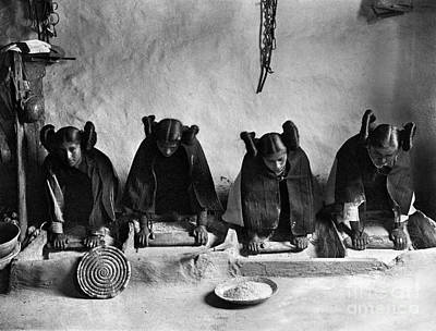 Photograph - Hopi Grinding Grain, C1906 by Granger