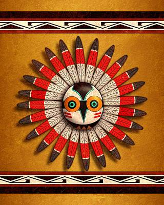 Digital Art - Hopi Owl Mask by John Wills