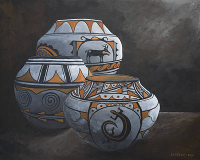 Painting - Hopi Pots by Jerry McElroy