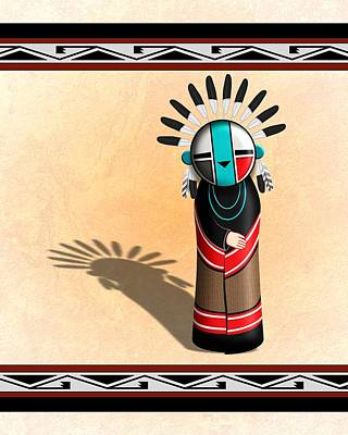 Digital Art - Hopi Sun Face Kachina by John Wills