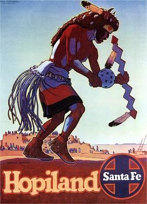 Dancer Mixed Media - Hopiland - Santa Fe - Buffalo Dancer - Retro Travel Poster - Vintage Poster by Studio Grafiikka