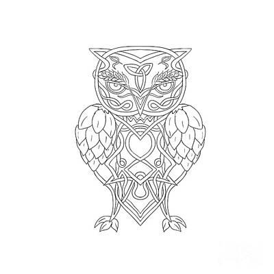 Knotwork Digital Art - Hops And Barley Owl Celtic Knotwork by Aloysius Patrimonio