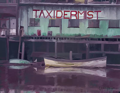 Painting - Hoquiam River Waterfront Taxidermist  by Wally Hampton