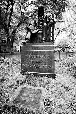 Horace Greeley Founder Of The New York Tribune Monument And Joseph Pulitzer Tablet In City Hall Park Art Print