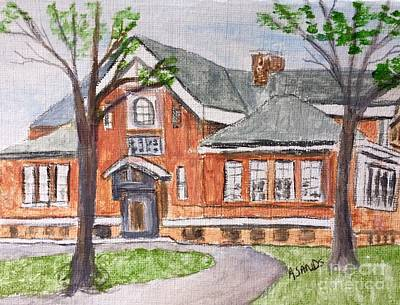Painting - Horace Mann School Amesbury Ma by Anne Sands