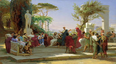 Satire Wall Art - Painting - Horatius Reading His Satires To Maecenas by Fedor Andreevich Bronnikov
