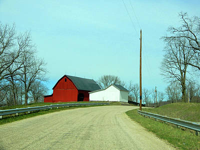 Photograph - Horizon And Red Barn by Tina M Wenger