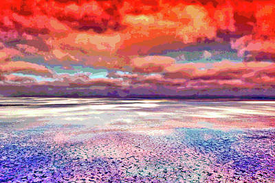 Digital Art - Horizon Beach Ocean Landscape by Mary Clanahan
