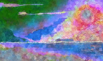 Abstract Seascape Mixed Media - Horizon by Mimo Krouzian