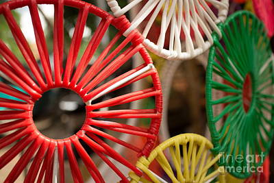 Photograph - Horizontal Colored Abstract Wicker Item Composed Of Circular Colored Shapes by Jason Rosette