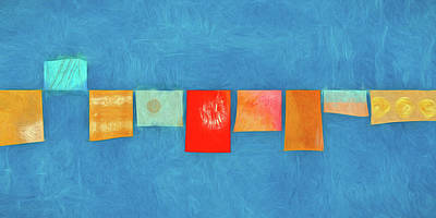 Prayer Flags Photograph - Horizontal String Of Colorful Prayer Flags 1 by Carol Leigh