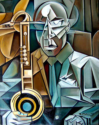 Wall Art - Painting - Horn And Man by Martel Chapman