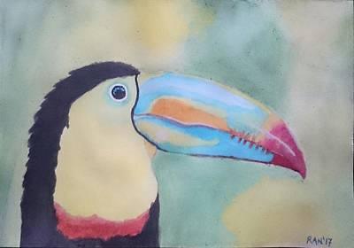 Hornbill Painting - Hornbill Beauty  by Sreeranjini Nagalingam