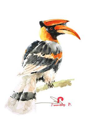 Hornbill Painting - Hornbill Bird by Pornthep Piriyasoranant