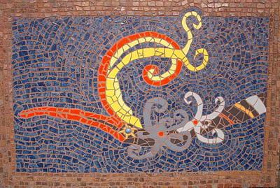 Ceramic Art Tile Painting - Hornbill  by Gila Rayberg