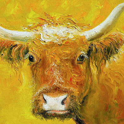Yellow Decor Painting - Horned Cow Painting by Jan Matson