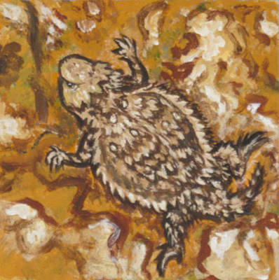 Painting - Horned Lizard On Boulder by Dawn Senior-Trask