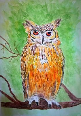 Painting - Horned Owl by Anne Sands