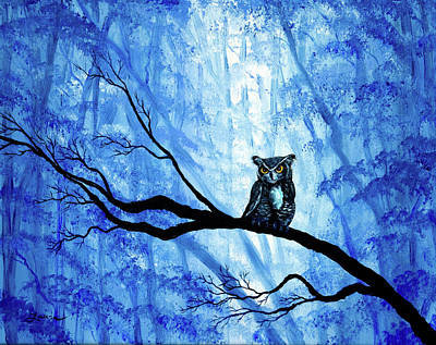 Painting - Horned Owl In Deep Blue Woods by Laura Iverson